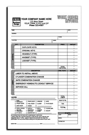 Locksmith Work Order Invoice 8.5 x 11 (sku: 100031)